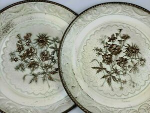 2 Antique Embossed Metal Plates 9 25 Tin Hanging Plaque Chabby Chic Home Decor