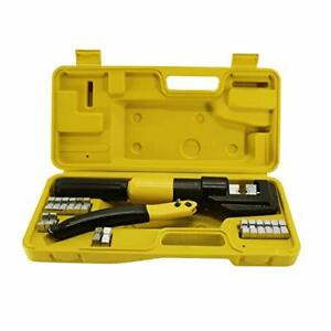 Hfs r 10t Hydraulic Wire Terminal Crimper Battery Cable Lug Crimping Tool 9dies