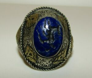 Beautiful Antique Middle Eastern Silver 800 Seal Ring With Lapis Lazuli
