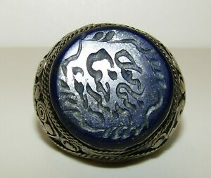 Very Large Antique Middle Eastern Silver 800 Seal Ring With Lapis Lazuli