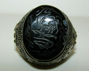 Splendid Large Antique Middle Eastern Silver 800 Seal Ring With Fine Onyx