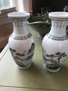Chinese Vintage Pair Of Famille Rose Vases With Landscape Scenes