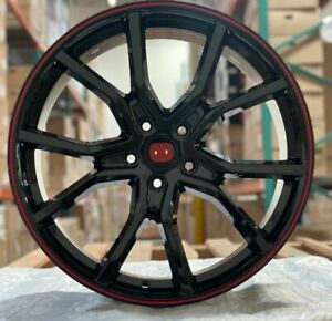 20 Wheels Black Red Rims Type R Style Fit Honda Accord Civic Sedan Coupe 5 Lug