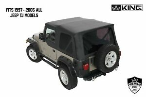 King 4wd Replacement Soft Top W Upper Doors Tinted Rear 97 06 For Jeep Wrangler