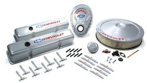 Proform Small Block Chevy Chevy Logo Gray Engine Dress Up Kit P N 141 360