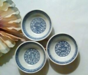 3 Asian Porcelain Blue White Rice Pattern Dragon Mini Dipping Bowl 2 1 2 X1