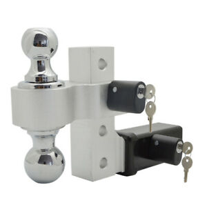 Adjustable Ball Mount Hitch 6 Inch Drop rise Dual Ball 2 Pcs 5 8 Hitch Lock