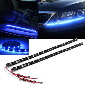 2pcs 24 8000k Ultra Blue 30 Smd Led Strip Lights For Drl Fog Light Door Lights