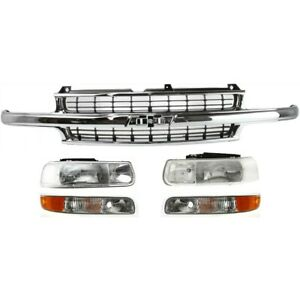 Headlight Grille Assembly For 2000 2006 Chevrolet Tahoe Kit