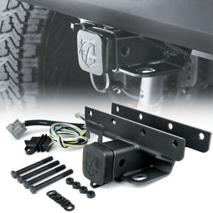 Steel 2 In Rear Towing Trailer Hitch Receiver Harness For 07 18 Jeep Wrangler Jk