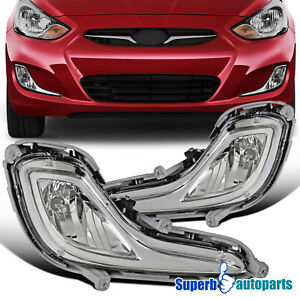 For 2012 2017 Hyundai Accent Fog Lights Driving Lamps Black Bezel W Switch
