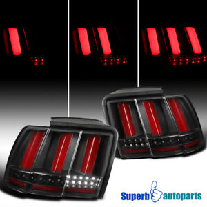 For 1999 2004 Ford Mustang Black Sequential Led Tail Lights Brake Lamp Red Bar