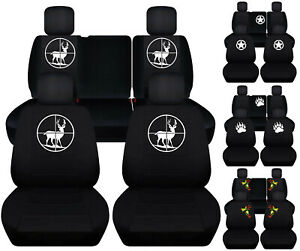 Front Rear Car Seat Covers Black W Army Star Deer Fits Jeep Liberty Limited02 07