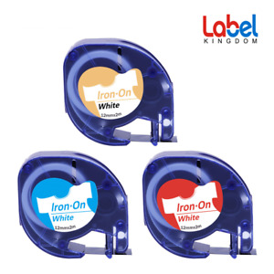Dymo3 Pk Compatible Letratag Fabric Iron On 18771 18775 18769 12mm Label Tape