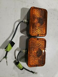 Amber Safety Warning Light 1 Pair 12vtractor Plastic Lens Body 5 1 2 x 3 1 2