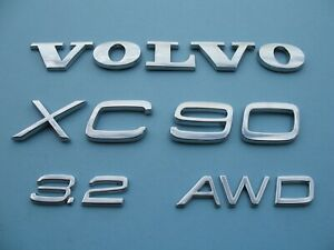 03 14 Volvo Xc90 3 2 Awd Rear Gate Chrome Emblem Logo Badge Sign Symbol Set B303