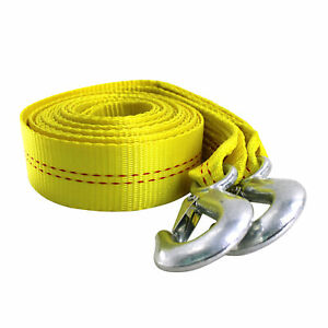 Hfs R 4 5t 2 X20 Ft Polyester Tow Strap Rope 2 Hooks 9000lb Towing Recovery