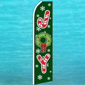 Joy Christmas Holiday Flutter Flag Tall Curved Wind Swooper Feather Banner Sign