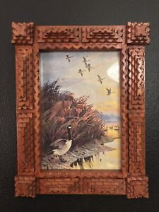 Antique American Carved Wood Tramp Art Picture Frame Layered Wooden Folk Art