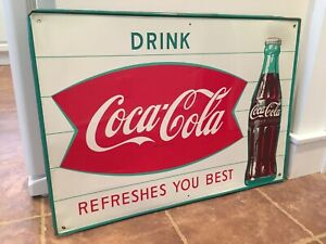 Vintage Coca Cola REFRESHES YOU BEST Fishtail Sign  27-1/2