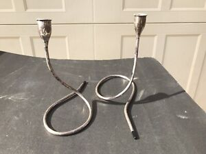 Vintage Pair Towle Sterling Silver Mid Century Modern Candle Holders