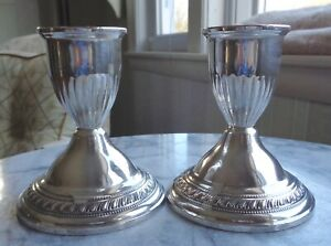 Vintage Art Deco Sterling Silver Candlesticks