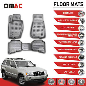 Floor Mats Liner 3d Molded Gray For Jeep Grand Cherokee 2005 2010