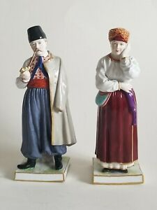 Rare 19c Pair Russian Porcelain Popov Figurines