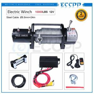 Eccpp 96810 Vr10 10000lb Electric Winch 12v Roller Fairlead 80 3 8 Steel Rope