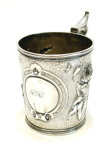 Gorham Coin Silver Handled Cup 1860 Repousse Florals