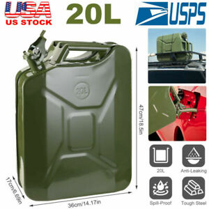 20l Gas Can 5 Gallon Spill Proof Gasoline Fuel Jerry Can Heavy Duty Steel Green