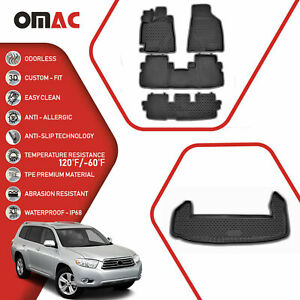 Floor Mats Cargo Trunk Liner 3d Molded Black Set For Toyota Highlander 2008 13