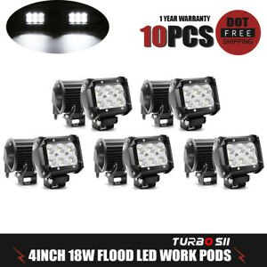 10x 4inch 18w Led Work Lights Pods Flood Offroad Lamp For Atv Jeep Ute 12v