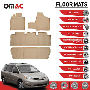 Floor Mats Liner 3d Molded Beige Set Fits For Toyota Sienna 2004 2010