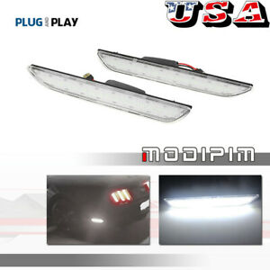 Clear Lens White Led Rear Side Marker Lamps Reflector Lights For 2015 up Mustang