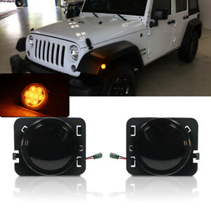 Smoke Lens Amber Led Fender Flare side Marker Lights For 07 15 Jeep Wrangler Jk