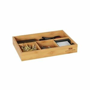 Wooden Bamboo Desk Drawer Organizer 11 5 X 8 In Table Top Home Office Holder