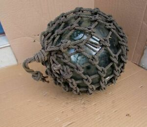 Antique 37 Large Vintage Green Japanese Roped Glass Fishing Float Buoy Marked