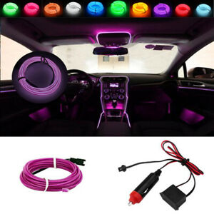 Purple 3m Universal Car Interior Led Decorative Atmosphere Wire Strip Cold Light