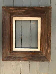 Antique Modernist Mid Century Modern Distressed Wood 8 X 10 Picture Frame