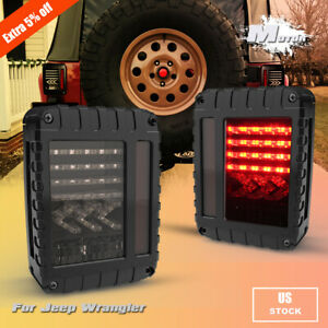 Smoked Led Tail Lights Turn Signal Reverse Brake Lamp For 07 17 Jeep Wrangler Jk