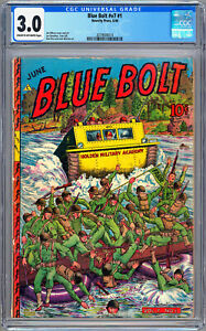 BLUE BOLT v.7 #1 CGC 3.0 GOLDEN AGE *WWII MILITARY OPS COVER* NOVELTY PRESS 1946 $395.00