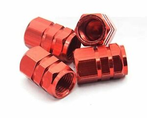 4x Red Aluminum Tire Valve Stem Air Dust Cover Caps Wheel Car Truck Suv Bike
