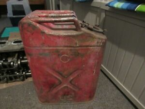 Vintage Distressed Red Military Style Metal Jerry Gas Can Jeep Willys With Lid