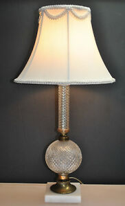 Vintage Diamond Pattern Glass Pedestal Lamp With Original Shade