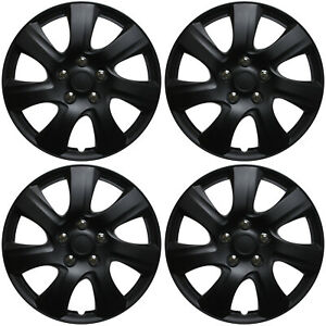 Hubcaps 15 Inch Black Matte set Of 4 Universal Wheel Covers Hub Caps Cap