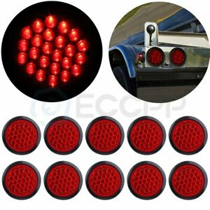 10pcs 4 Inch Red Round 24 Led Trailer Truck Side Marker Clearance Tail Light