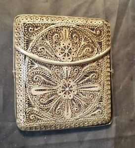 Antique Silver Filigree Lace Cigarette Case 4 By 3 1 2 By 1 2