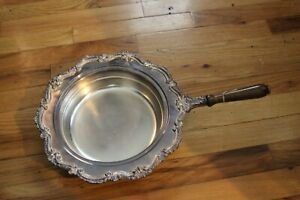 Vintage English Silver Mfg Co Butler Serving Dish With Wood Handle