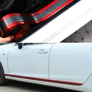 Red Car Sticker Carbon Fiber Rubber Door Sill Protector Edge Guard Strip 5cm 1m